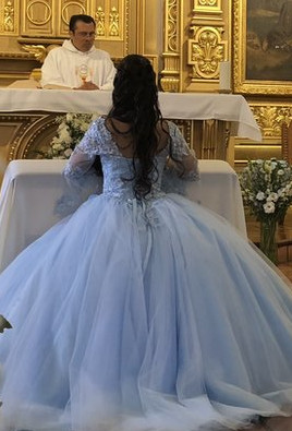 Young girl in a quinceanera dress